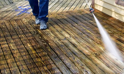 powerwash wooden deck